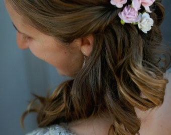 Blush and Ivory Simple Wedding Hair Pins