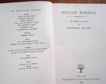 South Riding An English Landscape by Winifred Holtby (Hb 1936)