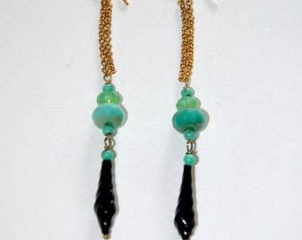 Long vintage earrings vermeil glass and cut glass