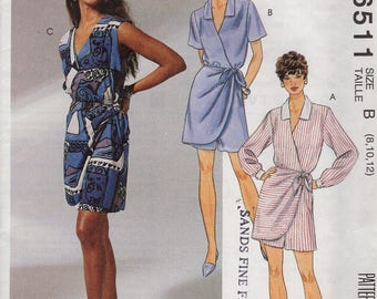 FREE US SHIP McCall's 6511 Mock Wrap Culottes Dress Pantskirt Retro 1993 1990's Uncut Sewing Pattern  Size 8 10 12