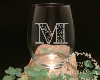 Monogram Wine Glass | Etched Stemless Wine Glass | Etched Monogram Stemless Wine Glass Wedding Bridal Custom Personalized Wine Glass
