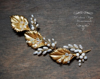 Handmade hair accessory - Bridal - Golden