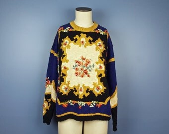 M Vintage Carole Little Chunky Knit Sweater Felted Floral Metallic Details Black Gold Cobalt Blue Royal Blue Pink Red Turquoise 90s Sweater