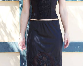 Vintage black lace corset bustier bra top underwear.cup B 70