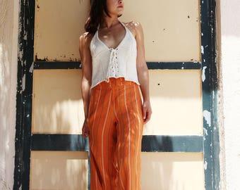 Vintage orange striped linen pants.size 38
