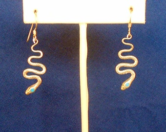 Southwestern Snake Earrings Sterling Silver and Turquoise Dangle Earrings Southwestern Jewelry