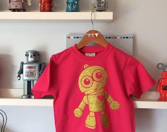 Gold Glitter Robot On a Pink Toddler T-shirt