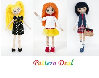 Pattern Deal - Doll Alex, Doll Nikki and Doll Schollgirl, amigurumi crochet doll, crochet doll pattern, amugurumi pattern