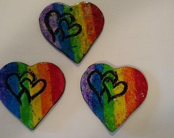 Rainbow Pride Heart Pendants (A DisCreations Product)