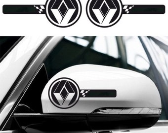 2x RENAULT Custom Wing Mirror Side Body Decals Graphics Stickers - Sport Clio RS Trophy Megane Twingo Kangoo GT - for All models