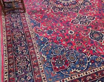 "Antique Persian 8'9""x13'7"" Kerman Rug Cerulean Blue & Magenta Masterpiece c.1920s"