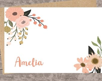 Personalized stationery set/Custom Note Cards/custom stationery set, floral note cards/flat note card stationery