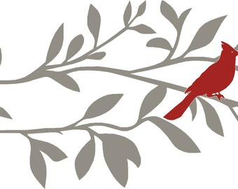 Cardinal Wall Decal, Tree Wall Decal, Branch Wall Decal, Bird Wall Decal