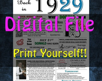 1929 Personalized Birthday Poster, 1929 History - DIGITAL FILE!!
