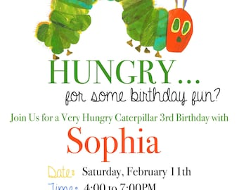 Very Hungry Caterpillar Invitation /Very Hungry Caterpillar Birthday/Very Hungry Caterpillar Birthday Invitation /Hungry Caterpillar/Digital