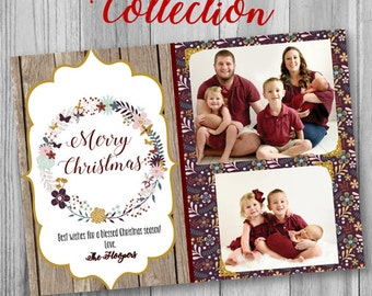 Floral Christmas Card, Custom Christmas Card, Photo Christmas Card, Christmas Photo Card, Merry Christmas, Christmas Card, Christmas Wreath