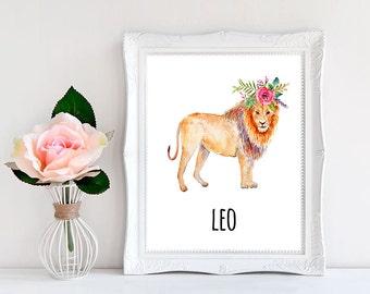 Zodiac Art Print, Zodiac Print, Leo Poster, Leo Decor, Leo Wall Art, Leo Sign, DOWNLOAD PRINTABLE Art print Gift Nursery