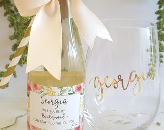 Will you be my Bridesmaid - Personalized Mini Champagne/Wine Bottle Labels - Labels ONLY