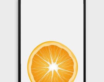 Orange Print   Orange Decor, Kitchen Printable, Kitchen Fruit Print, Fruit Art, Photo Art, Wall Art Print, Modern Kitchen Print, Minimalist
