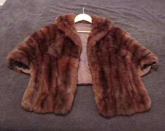Genuine Brown Mink Fur Cape Capelet Shrug Stole Jacket Coat Womens Size S/M - Excellent!
