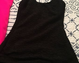 Vintage Black Ruched Swimsuit Size 12 medium/Large Also Available in Green.