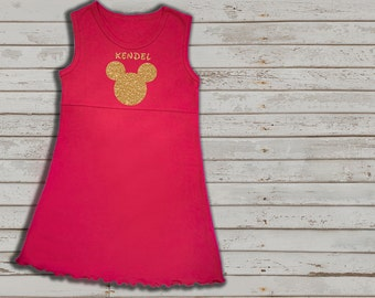 Disney inspired dress for girls, Red sleeveless dress, minnie mouse, gold glitter, custom disney dress for girls, disney vacation