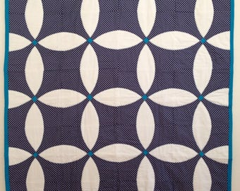 Handmade Quilt - Homemade Quilt - Modern Quilt - Toddler Quilt - Baby Quilt - Lap Quilt - Polkadots - Homemade Quilt Blue and White Flowers