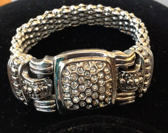Silver Tone and CZ Pave Stainless Steel Mesh Bracelet