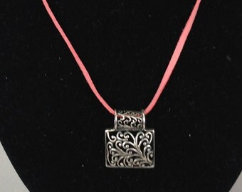 Sterling Silver Pierced Open Work Filigree Pendant and Leather Cord Necklace