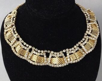 Gold Tone Mesh and Rhinestone Choker/Collar/Necklace