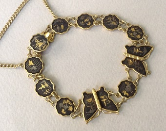 Shakudo Damascene Gold Moth/Butterfly Link Bracelet