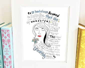 Emily of New Moon Quote - illustrated - wall art - literary - QENM