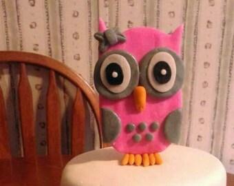 Fondant owl cake topper/owl cupcake toppers/fondant elephant cake topper/elephant cake kit