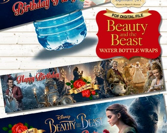 Beauty and The Beast Water Bottle Wraps - Beauty and The Beast Labels - Printable Labels - Beauty and The Beast Decorations - Birthday Party