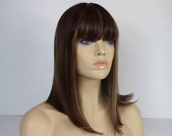 Medium Brown/Golden Blonde Highlights  Shoulder Lenght Angled  Bob Wig with a Full Fring/Bangs