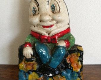 Humpty Dumpty - Vintage Cast Iron Humpty Dumpty Money Box. Vintage Cast Iron Humpty Dumpty Coin Bank. Humpty Dumpty Sat On A Wall Coin Bank