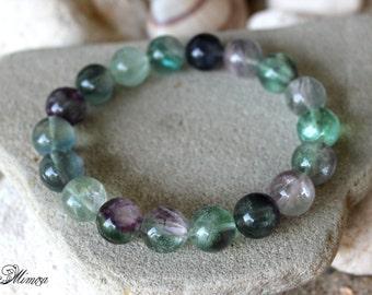 Fluorite Bracelet, 12mm Fluorite Bracelet, Rainbow Fluorite Bracelet, Green Purple Fluorite Bracelet, Fluorite Mala, Wrist Mala, Fluorite
