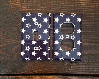 Navy And White Stars Light Switch And Outlet Covers   Star Nursery Decor - White Stars - Set of 4 - Navy Baby - Star Decor - Navy Wall Art