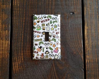 Nerd Light Switch And Other Style Covers | Dork - Coffee - Video Games - Glasses - Cats - Home Decor - Geek - Gift - Teen Room Decor - Nerdy