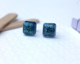 Blue Glitter Resin Earrings - Glitter Earrings - Glitter Studs - Glitter Resin Earrings - Stud Earrings - Post Earrings - Resin Jewellery