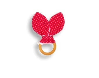 Natural Wooden Teething Ring <<Red & White Polka Dots>> ~ Baby/Teething Toy/Bunny Ears