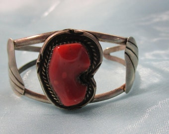 Native American Indian Silver Bracelet with Large Coral Stone, Silver Leaf Design