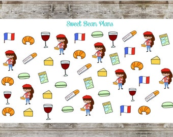 France/Travel Hand Drawn Doodle Girls Planner Stickers