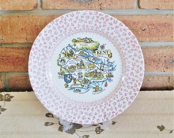 English Ironstone England souvenir plate of Kent, transferware, souvenirware, 1980s