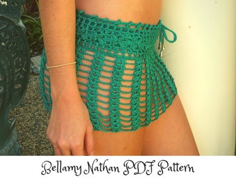 "Crochet Skirt Pattern, ""Tigerlily"" Crochet Beach Skirt Sizes XS to L"