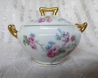 Limoges France Roses and Blue Bachelor Buttons Sugar Bowl LIM10