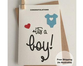 It's a Boy Card  – Congratulations Baby Boy Card – Baby Boy Card – Onesie Boy Card – New Baby Boy Card