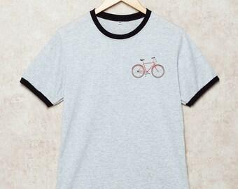 Bicycle Shirt Pocket Bicycles T Shirts Bike T-Shirt Ringer Grey Size S , M , L , XL , 2XL , 3XL three color ring