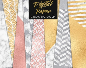 BUY 3 FOR 8 USD, Luxury digital paper, marble digital texture, luxury background, gold foil, rose gold foiled patterns, art deco, download