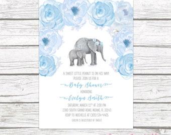 Elephant Baby Shower Invitation Boy, Boho Baby Shower, Boy Baby Shower Invite, Little Peanut Printable Invitation